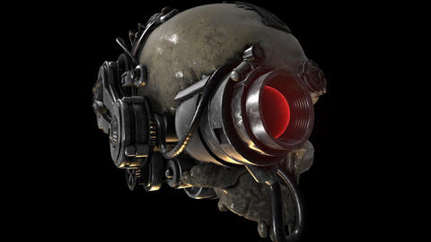 Steampunk Skull animation with alpha matte mask CG動画素材