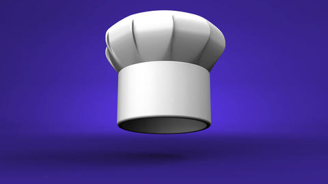 Chef's Hat With Three Stars On Blue Background Animation