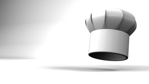 Chef's Hat With Three Stars On White Text Space Animation
