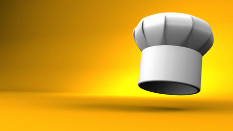 Chef's Hat With Three Stars On Yellow Text Space Animation