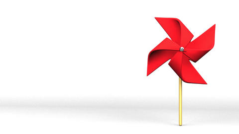 Red Pinwheel On White Text Space CG動画