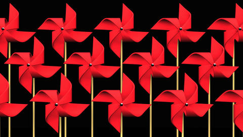 Red Pinwheels On Black Background CG動画