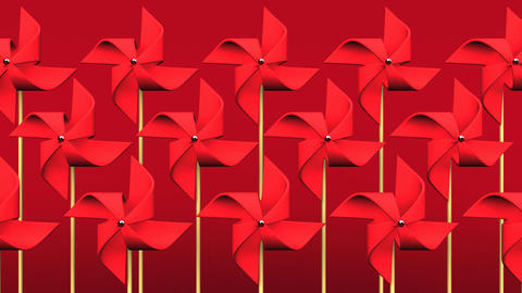 Red Pinwheels On Red Background Animation