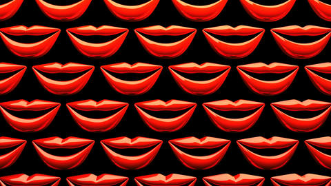 Many Red Kissing Lips On Black Background CG動画