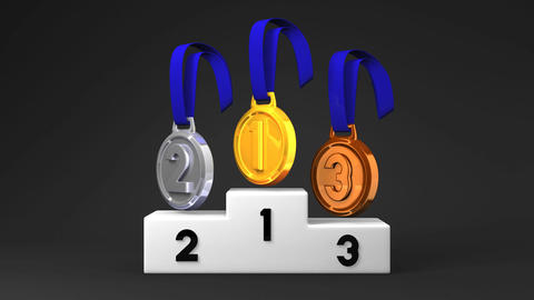 Medals And Podium On Black Background Animation
