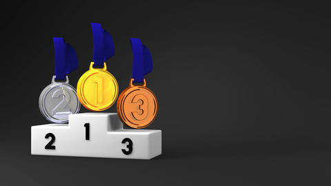 Medals And Podium On Black Text Space Animation