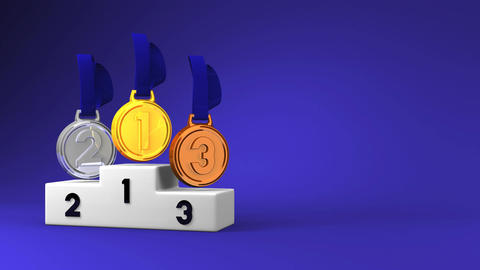 Medals And Podium On Blue Text Space Animation
