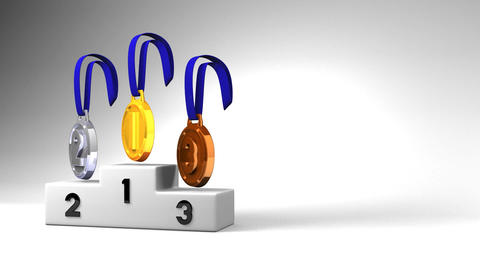Medals And Podium On White Text Space Animation