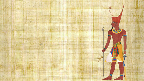 Lower Egypt Pharaoh on a Papyrus Background ビデオ