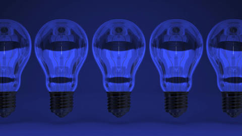 Some Electric Bulbs On Blue Background CG動画
