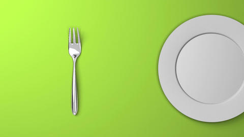 Top View Of Cutlery And Dish On Green Background CG動画