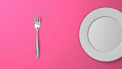 Top View Of Cutlery And Dish On Pink Background CG動画