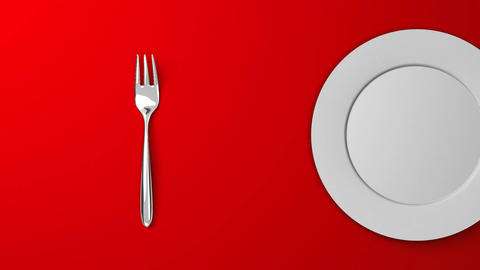 Top View Of Cutlery And Dish On Red Background Animation