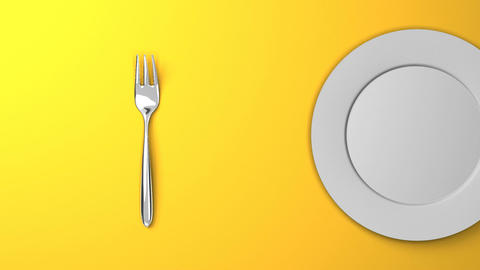 Top View Of Cutlery And Dish On Yellow Background CG動画