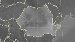 Romania and neighborhood. Grayscale Animation
