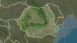 Romania and neighborhood. Satellite Animation