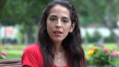 Pretty Young Peruvian Woman Talking Footage