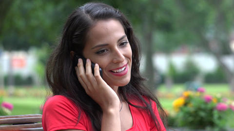 Happy Woman Talking On Cell Phone Footage