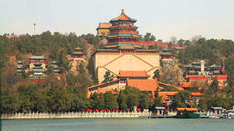 View of Summer Palace on the bank of Kunming Lake Footage
