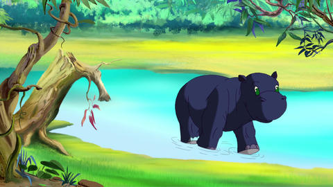 Little blue hippo emerges from river Animation