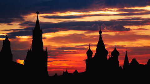Timelapse of gorgeous sunset on Moscow historical center Red Square and Kremlin Footage