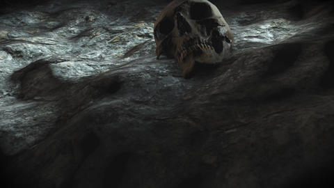 ancient human skull. Apocalypse concept. Super realistic 4k animation Image