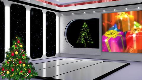 Christmas TV Studio Set 21- Virtual Background Loop ライブ動画