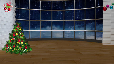 Christmas TV Studio Set 22- Virtual Background Loop ライブ動画