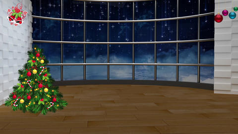 Christmas TV Studio Set 22- Virtual Background Loop, ライブ動画
