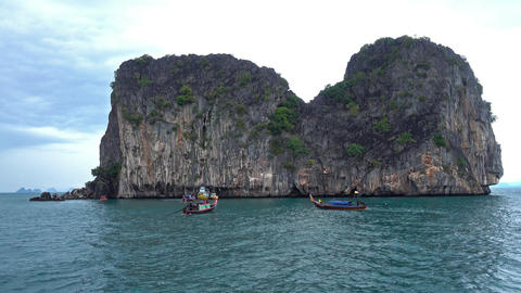 View from moving boat on island, Thailand Footage