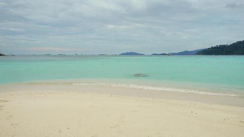 White sandy Sunrise beach on tropical island Footage