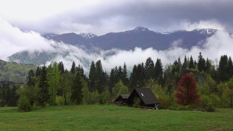 Mountain landscape with house and trees in fog Footage
