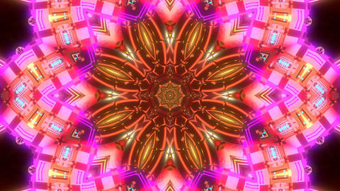 4k-Abstract Floral Kaleidoscopic Pattern In Green Colors Animation
