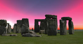 4K HDR Footage of a Red Sky Sunrise at Stonehenge in Wiltshire, England Footage