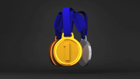 Rotating 3Medals On Black Background Animation