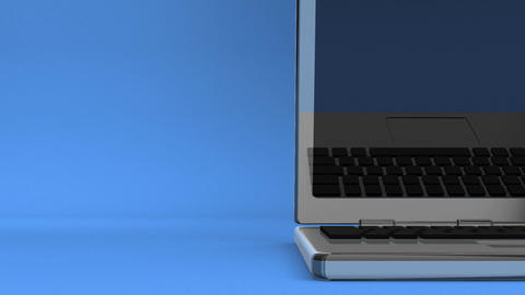 Closeup Of Laptop On Blue Text Space CG動画