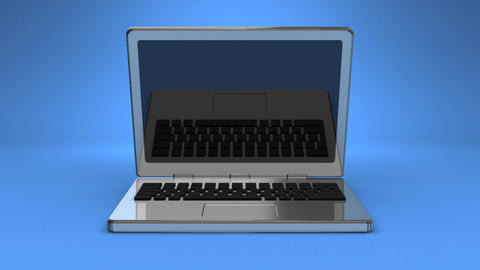 Front View Of Laptop On Blue Background Animation
