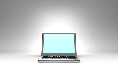 Front View Of Laptop On White Text Space, CG動画素材