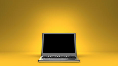 Front View Of Laptop On Yellow Text Space CG動画