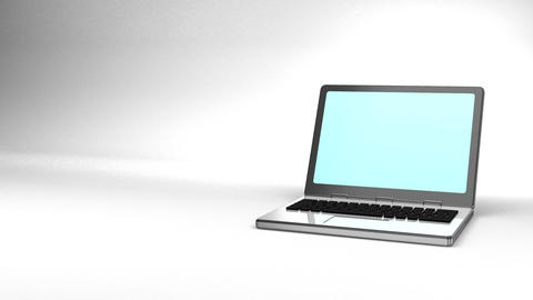 Laptop On White Text Space Animation