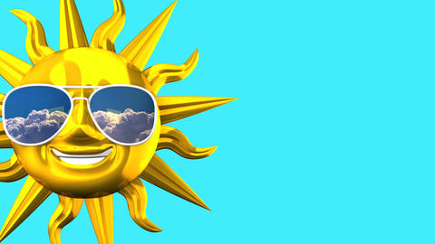 Golden Smiling Sun With Sunglasses On Blue Text Space CG動画