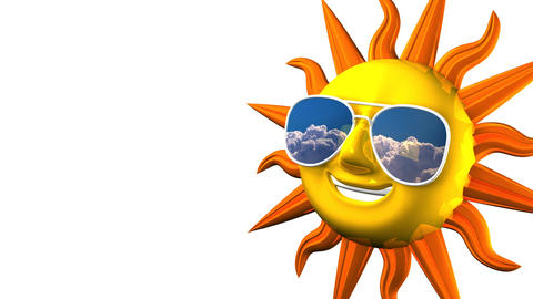Smiling Sun With Sunglasses On White Text Space 動画素材, ムービー映像素材