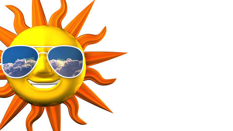 Smiling Sun With Sunglasses On White Text Space CG動画