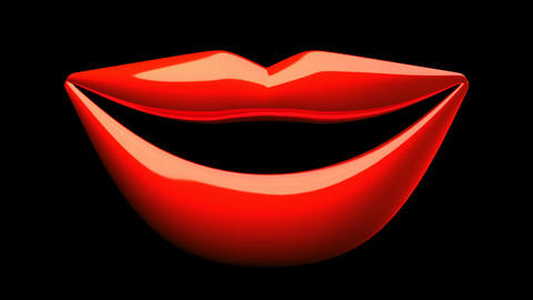 Kissing Red Lips On Black Background Animation