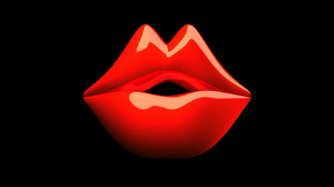 Kissing Red Lips On Black Background Stock Video Footage