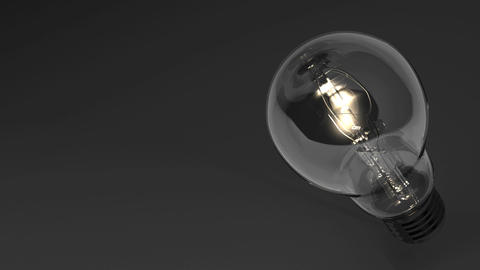 Close Up Of Electric Bulb On Black Text Space, CG動画素材