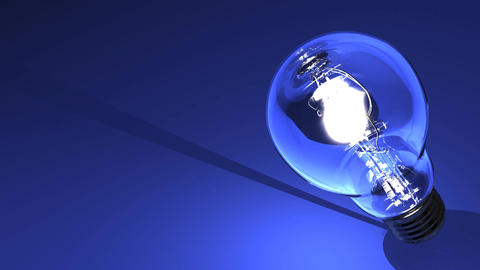 Close Up Of Electric Bulb On Blue Text Space CG動画