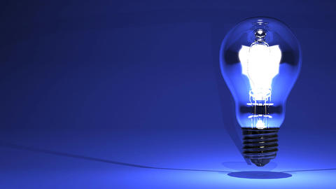 Electric Bulb On Blue Text Space CG動画
