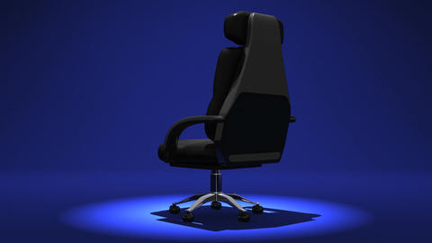 Spotlighted Business Chair On Blue Background CG動画