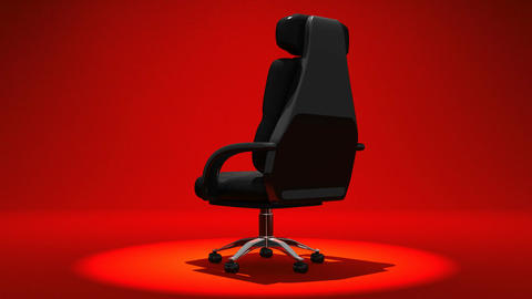 Spotlighted Business Chair On Red Background CG動画